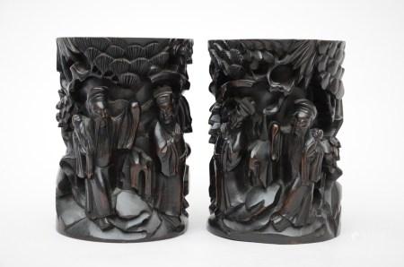 Pair of Chinese brush pots in hardwood (14x20cm)