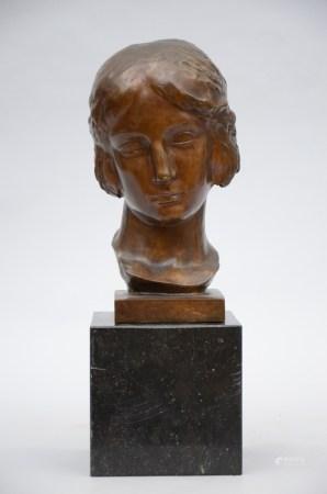 Leon Sarteel: women's bust in bronze on an art deco base (37cm)