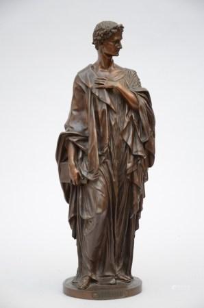 Bronze statue 'Virgile', signed Luppens ‡ Bruxelles (53cm)