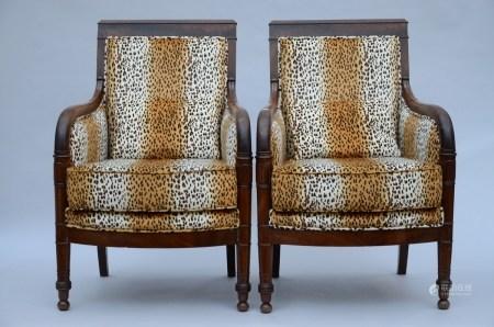 A pair of Charles X seats in acajou (63x54x91cm)