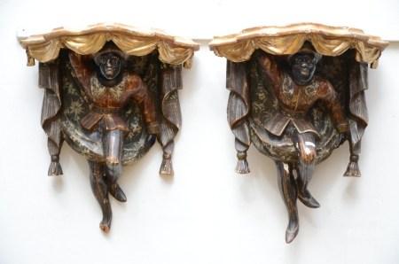 Pair of polychromed Venetian consoles, Napoleon III (20x33x37cm)