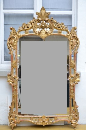 Large mirror in gilded wood, Louis XV (140x230cm)