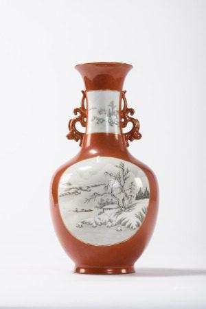 Chinese porcelain vase with 'winter landscapes', Qianlong mark (33cm)