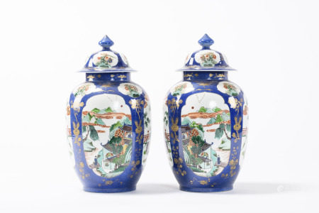 A pair of Chinese powderblue vases with famille verte decoration, 19th century (46cm)
