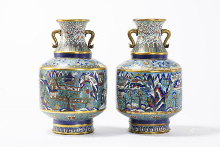 Pair of large, Chinese cloisonnÈ vases 'landscapes' 19th century (*) (54cm)
