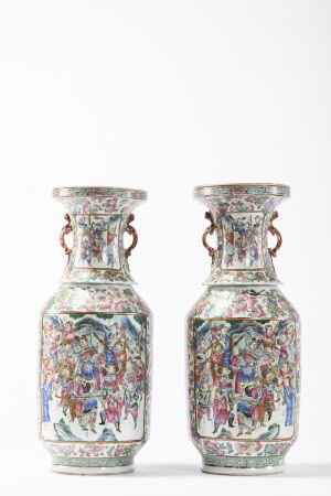 A pair of vases in Canton porcelain 'warriors and servants' (*) (62cm)