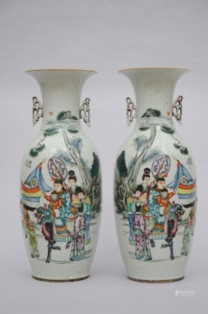 A pair of vases in Chinese porcelain 'characters with the flag of the Republic of China' (58cm)
