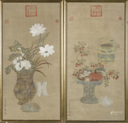 A pair of Chinese paintings on silk 'antiquities', signed Jiang Tingxi (52x100cm)