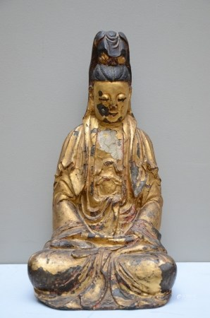 Chinese gilt lacquered bronze 'guanyin', Ming dynasty (37cm)