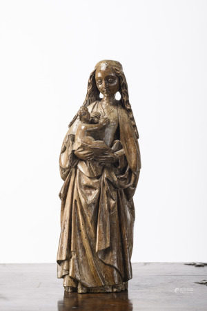 Wooden sculpture 'Madonna and Child', Mechelen around 1500 (32cm)