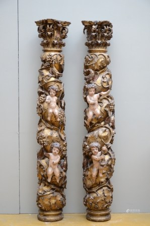 A pair of richly sculpted wooden Baroque columns, 17th century (170cm)