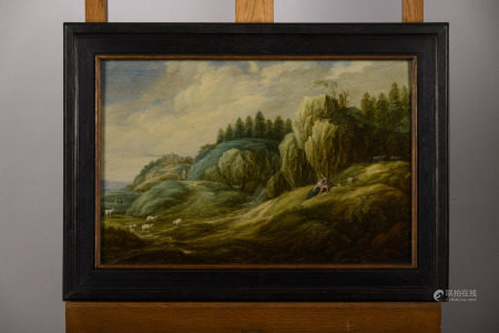 Anonymous (17th century): painting (o/p) 'shephards in a rock landscape' (60x39cm)