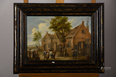 Anonymous (17th century): painting (o/p) 'village scene' (*) (42x59cm)