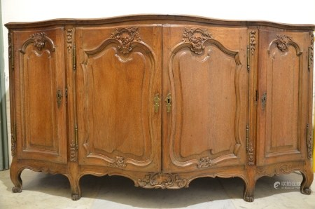Flemish four-door dresser in oak, 18th century (67x176x96cm)