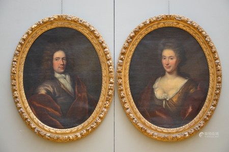 Anonymous (18th century): a pair of oval paintings (o/c) 'portraits' (68x86cm)