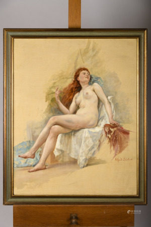 Alfred Stevens: painting (o/c) 'study of a nude' (73x92cm)
