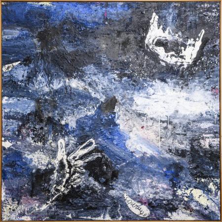 """Philippe Vandenberg (mixed media) """"Het lotsverlangen"""" 1989 - 1994 - 1995 (226x226cm)"""