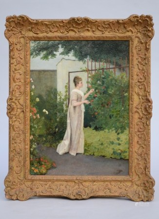 A. Serrure: painting (o/p) 'lady in garden' (35x48cm)