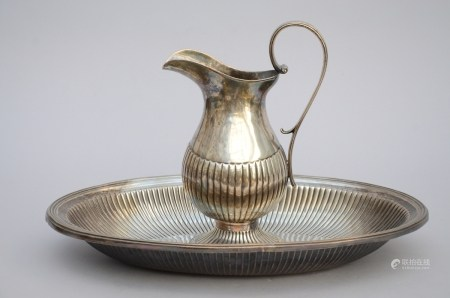 Ewer and basin in solid silver, Portugal (29cm)