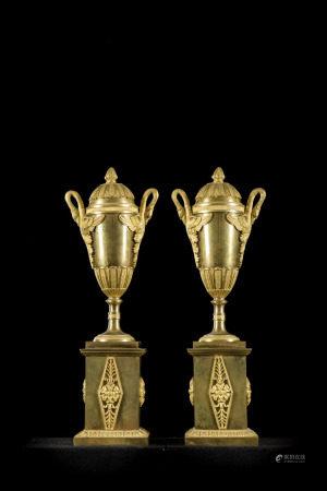 Pair of gilt bronze candlesticks, Empire (33cm)