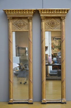 A pair of gilt wooden mirrors, 19iËme siËcle (*) (60x170cm)