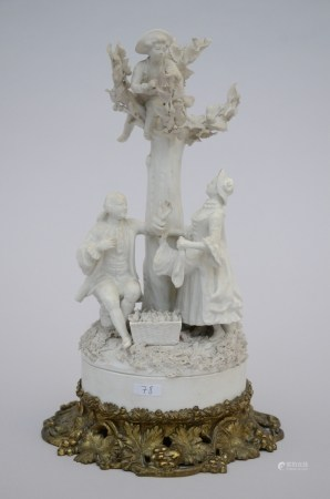 Group in white Sevres biscuit with bronze mounts, marked (*) (31cm)