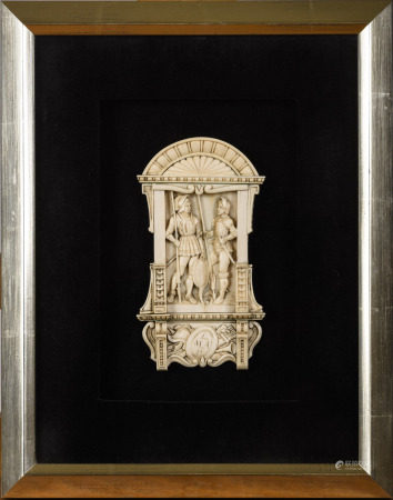 An ivory plaque 'knights', 19th century (9x17cm)