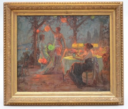 Max Carlier: painting (o/c) 'preparing for the party' (55x45cm)