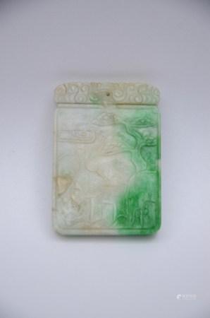 Jadeite plaque 'landscape and calligraphy' (4x5cm)
