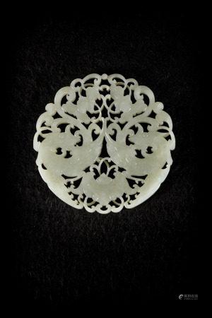 Round jade plaque 'phoenixes' (8cm)