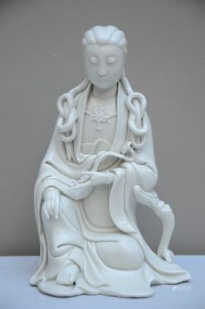 Guanyin in Blanc de Chine with He Chaozong mark (*) (21cm)