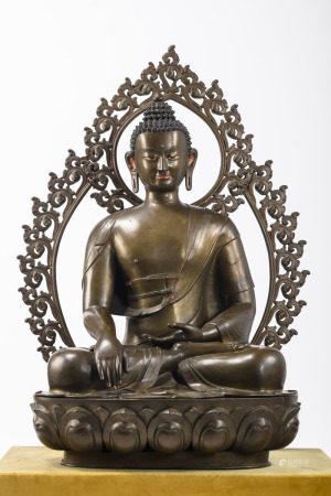 A monumental Tibetan bronze sculpture 'Buddha' (112cm)