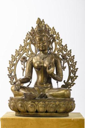 A monumental Tibetan bronze sculpture 'green tara' (111cm)