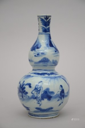A double gourd vase in Chinese blue and white porcelain, Transitional period (22cm)