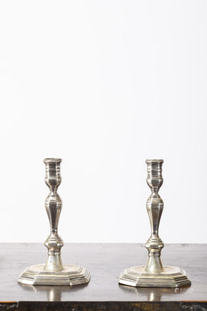 A pair of Louis XIV candlesticks in silver, 18th century (14cm)