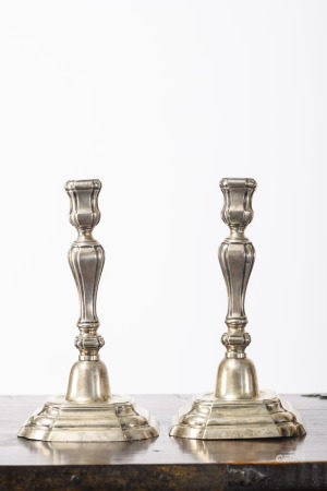 Pair of silver Louis XIV candlesticks by Petit Andries, Bruges 18th century (21cm)