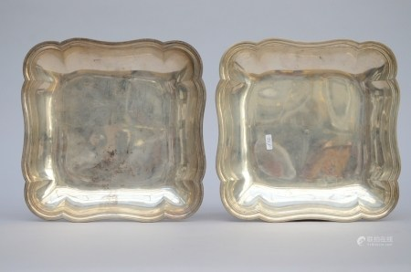 A pair of square plates in silver by Piat le Febvre, Doornik 18th century (25x25cm)