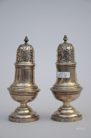 A pair of silver sugar shakers by Dethieu Petrus, Bruges 18th century (12cm)