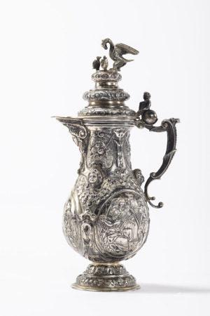 A silver ewer in Renaissance style, Neurenberg 19th century (22cm)
