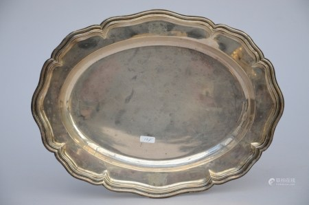 A lobed silver dish 'coat of arms', Ghent 18th century (33x25cm)