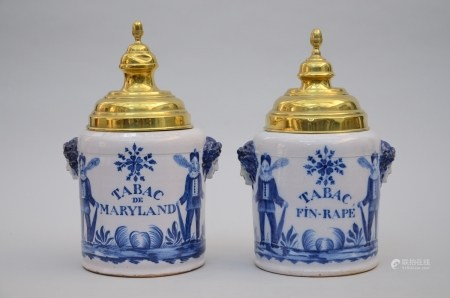 Pair of tobacco pots in Brussels earthenware (*) (42cm)