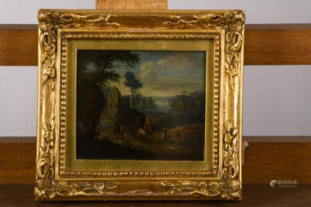 Anonymous (17th century): painting (o/c) 'village scene' (13x11cm)