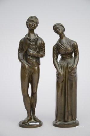 Pair of statues in bronze, 19th century (22cm)