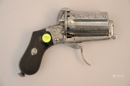 A pinfire pepperbox with engraved decoration, signed Deprez (12cm)