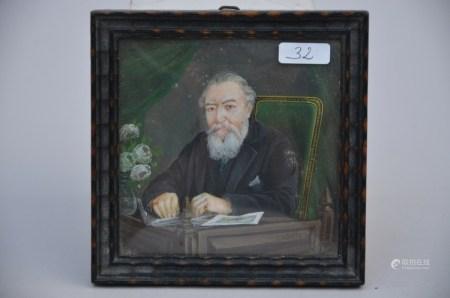 Miniature portrait 'reading man', 19th century (*) (8x8cm)