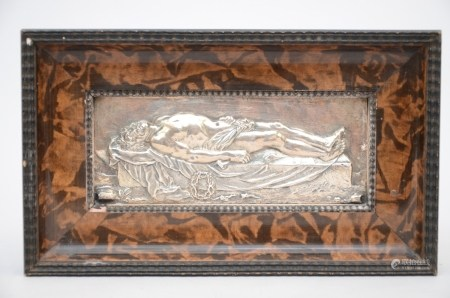 A silver plaque 'burial of Christ' (9x22cm)