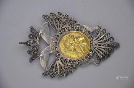 Pendant in Russian silver filigree 'Catherine la Grande' (6x9cm)