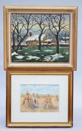 Lot: painting 'winter view' by PaulÈmile Pissarro - Gouache 'hay mites' by LÈlia Pissaro