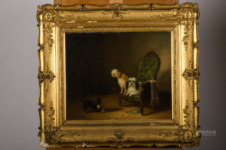 Zacharias Noterman (1850): painting (o/p) 'interior with dogs' (56x47cm)