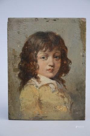 Anonymous: painting (o/p) 'portrait of a boy' (*) (14x19cm)